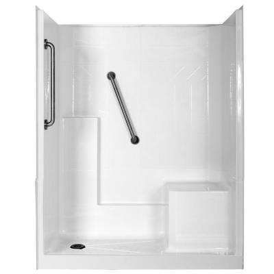 Elizabeth Plus 60 in. x 33 in. x 77 in. 3-Piece Low Threshold Shower Stall in White with Right Seat and Left Drain