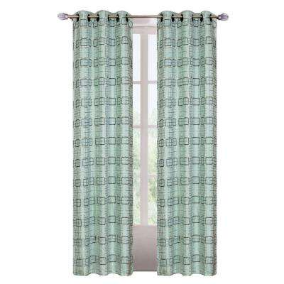 Celadon Polyester Grommet Curtain Panel, 84 in. (Set of 2)