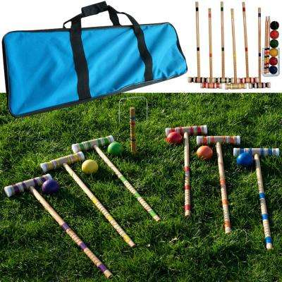 Deluxe Wooden Croquet Set with Carrying Case