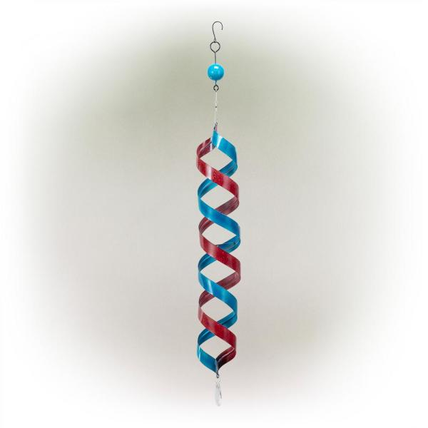 Red and Blue Wind Spinner Metal Hanging Decor