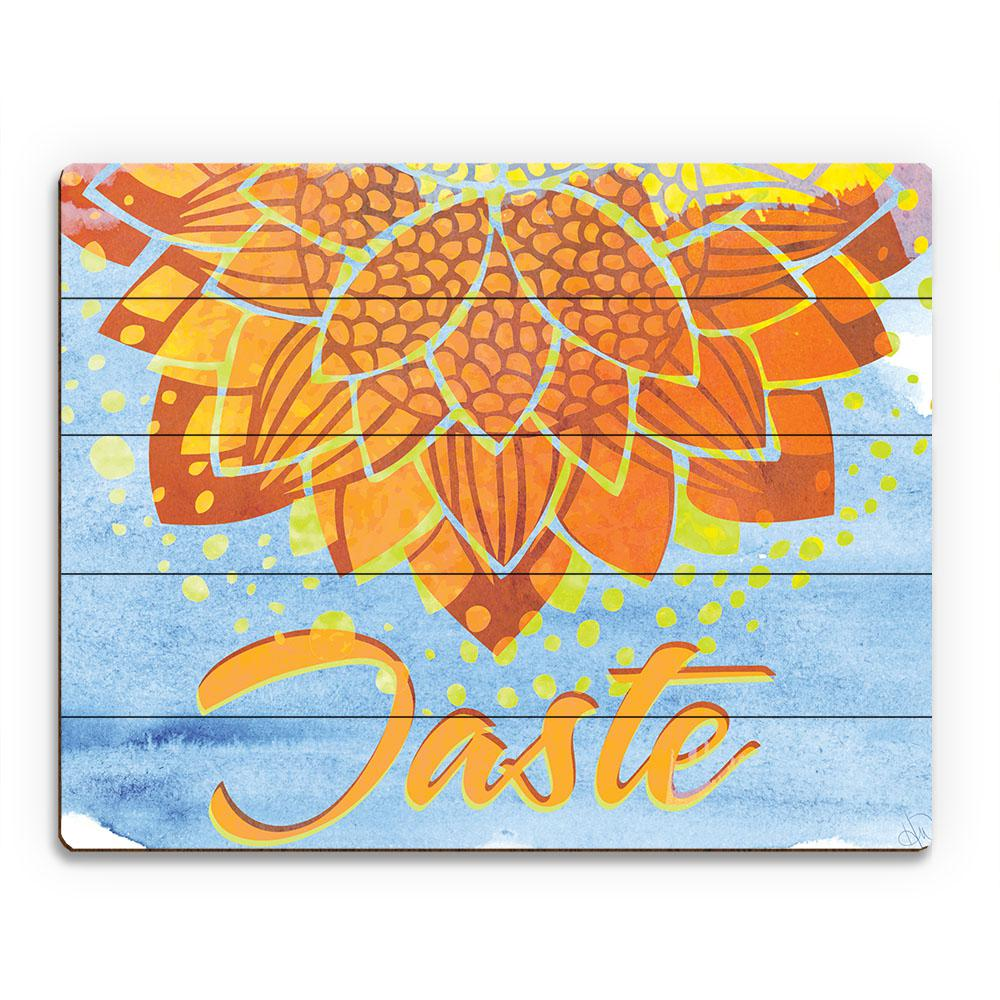 20 in. x 24 in. Tasteful Bloom in Tangerine Planked Wood