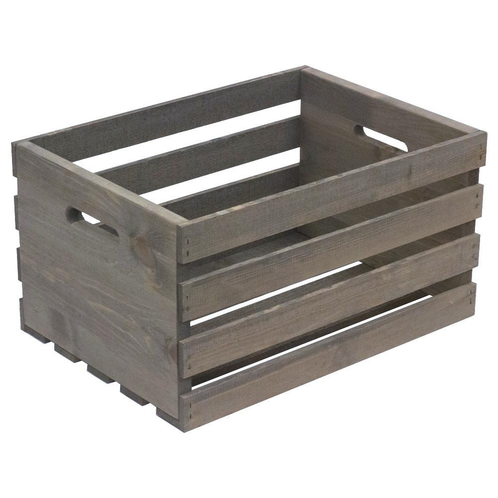 Crates & Pallet 18 in. x 12.5 in. x 9.5 in. Large Crate in Weathered Gray
