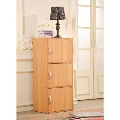 3-Shelf, 36 in. H Beech Bookcase with Doors