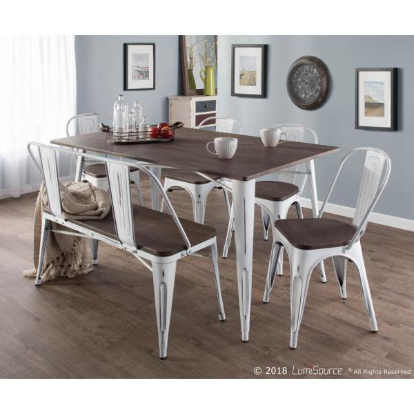 Lumisource Oregon 6 Piece Vintage White And Espresso Dining Set Ds Or6 Vw E The Home Depot