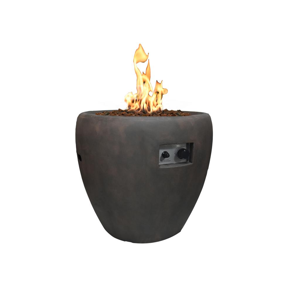 Modeno Lincoln 27 in. Round Concrete Propane Fire Pit Column Rust with Electronic Ignition with Auto Shut-Off System