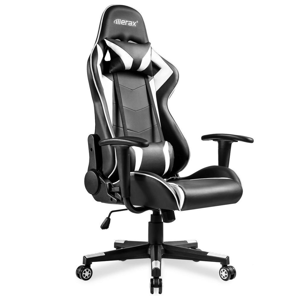 White Adjustable High-Back Ergonomic Gaming Chair