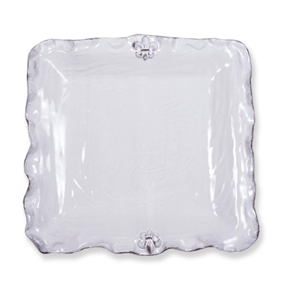 Fleur De Lis White Ceramic Platter