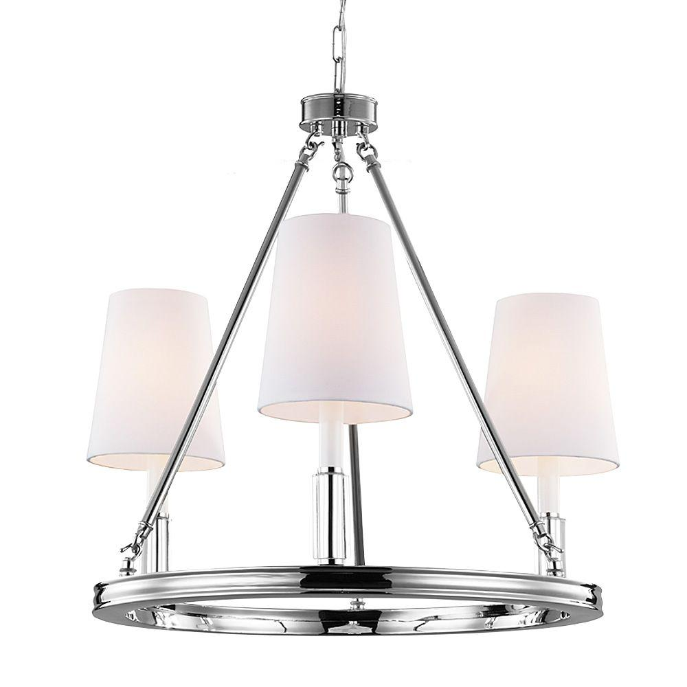 Feiss Lismore 3-Light Polished Nickel Chandelier with Fabric Shade
