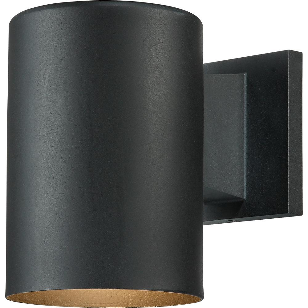 Volume Lighting Small 1 Light Black Aluminum Integrated Led Indoor Outdoor Mini Wall Mount Cylinder Light Wall Sconce V9225 5 The Home Depot