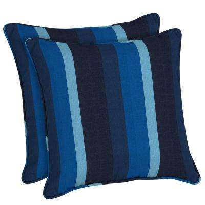 Sunbrella Gateway Indigo Square Outdoor Throw Pillow (2 Pack)