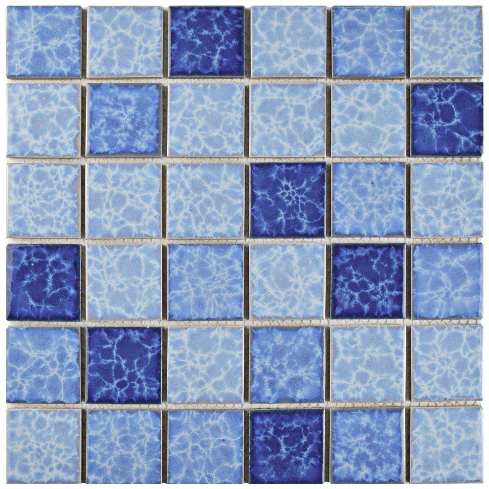 Merola Tile Watersplash Quad Aegean 11-7/8 in. x 11-7/8 in. x 6 mm ...