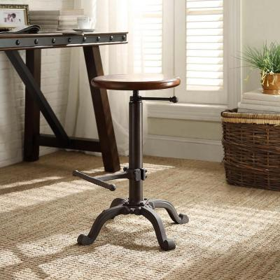 Justin Adjustable Height Black and Chestnut Bar Stool