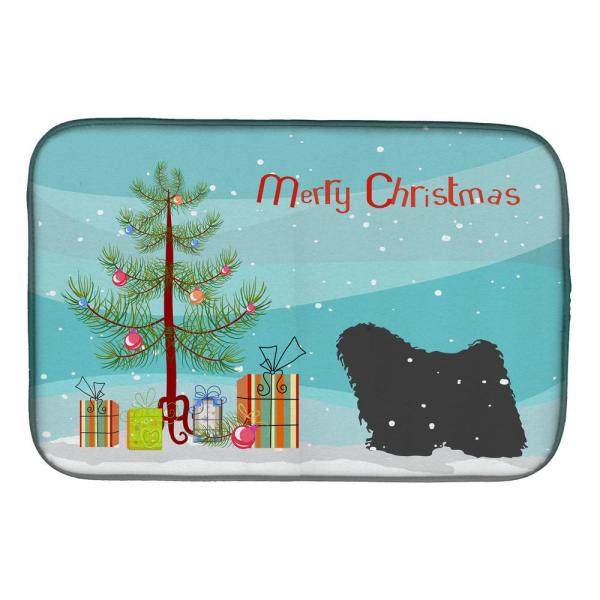 Caroline S Treasures 14 In X 21 In Multicolor Puli Merry Christmas Tree Dish Drying Mat Bb2981ddm The Home Depot