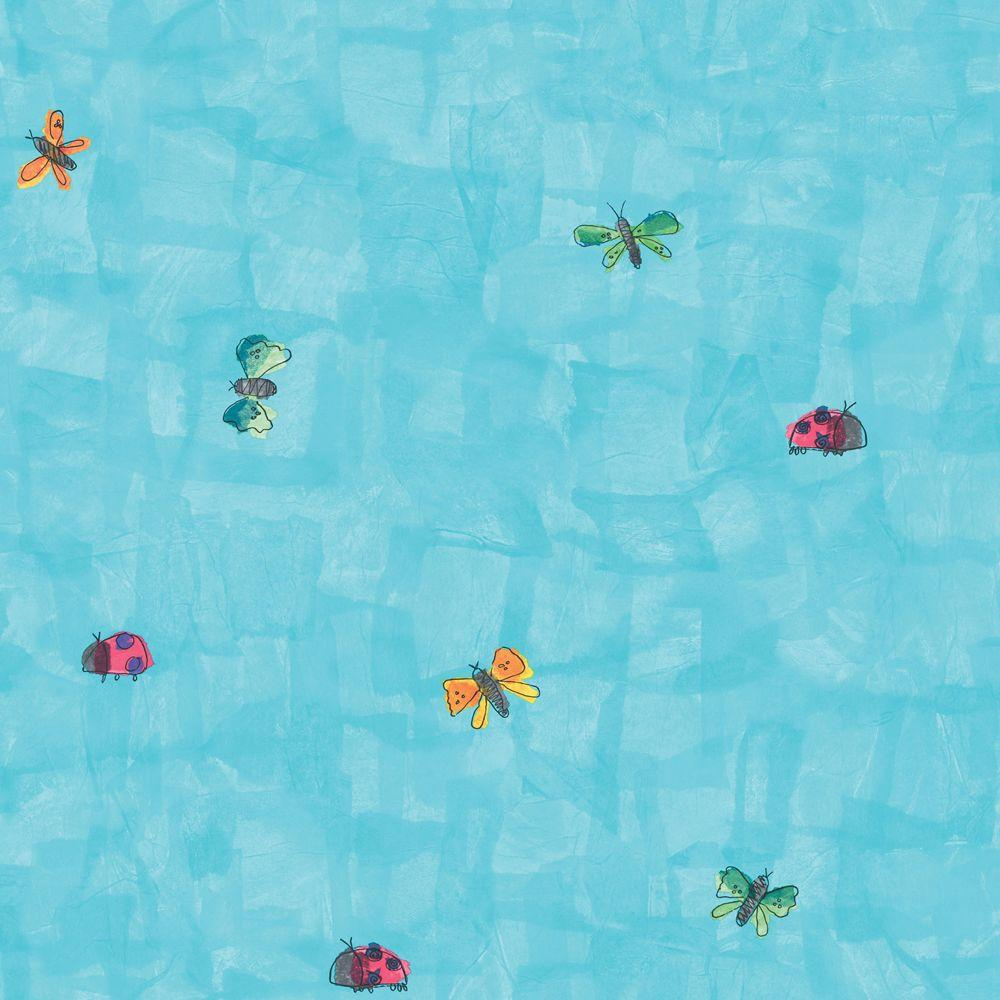 The Wallpaper Company 56 sq. ft. Blue Ladybug And Butterfly Wallpaper