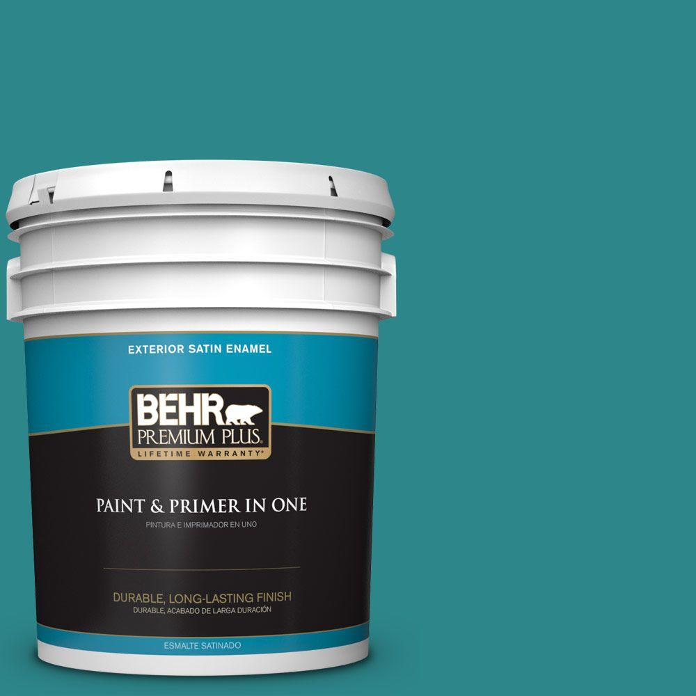 5-gal. #M460-6 Thai Teal Satin Enamel Exterior Paint