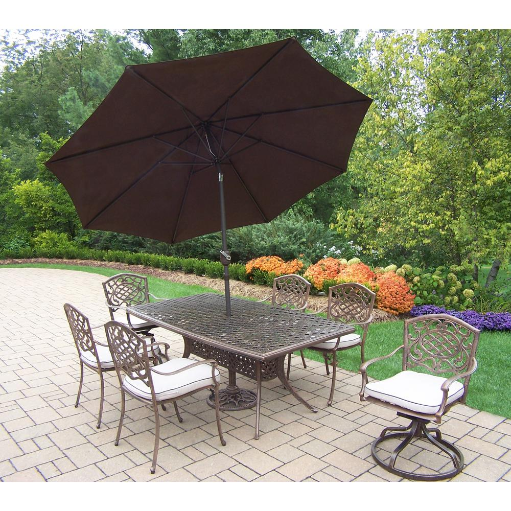 9-Piece Aluminum Outdoor Dining Set with Oatmeal Cushions and Brown Umbrella