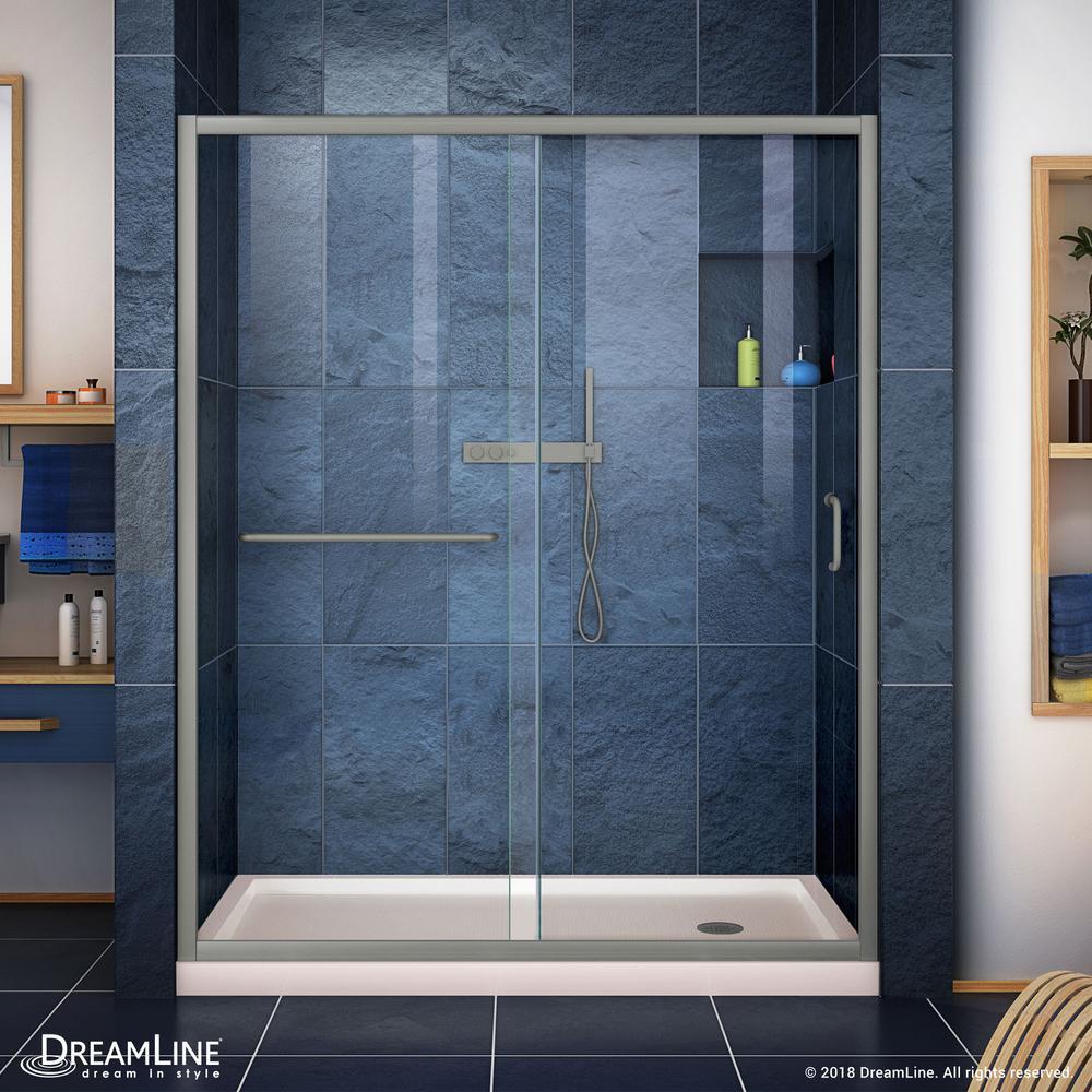 Infinity-Z 60 in. x 74-3/4 in. Framed Sliding Shower Door in Brushed Nickel with Center Drain Shower Base in Biscuit