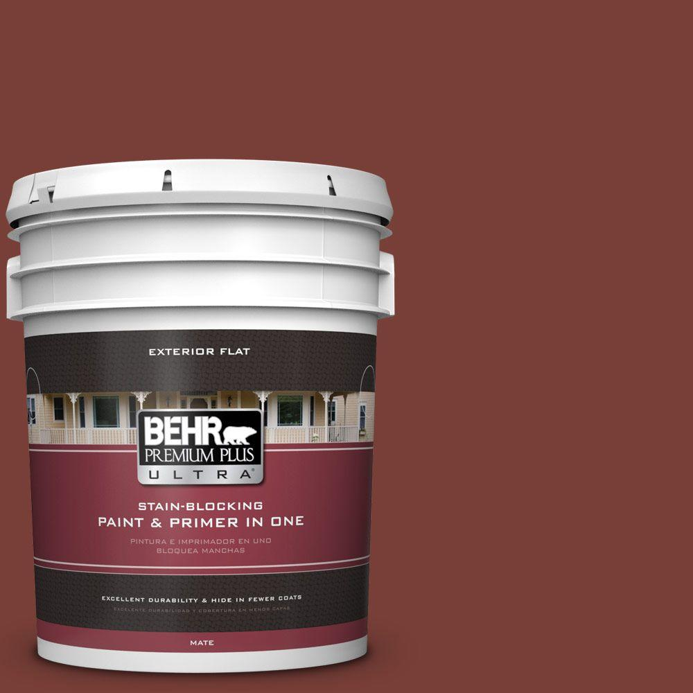 BEHR Premium Plus Ultra 5-gal. #PPU2-2 Red Pepper Flat Exterior Paint