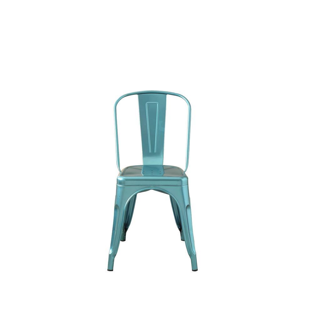 Jakia Glossy Blue Side Chair
