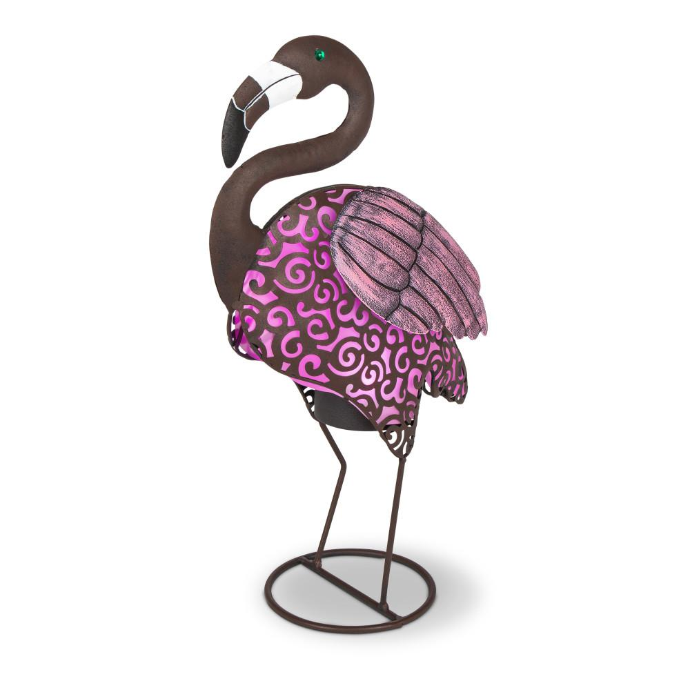 Tall Solar Ed Metal Flamingo Figurines With Pink Light