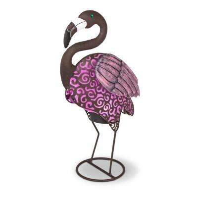 18.11 in. Tall Solar-Powered Metal Flamingo Figurines with Pink Light