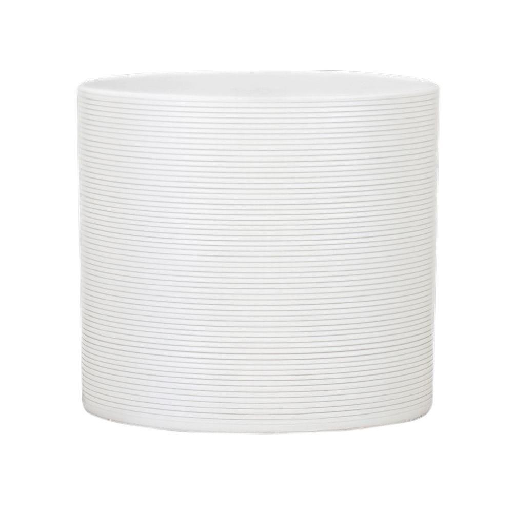 10 in. Dia Panna White Ceramic Pot