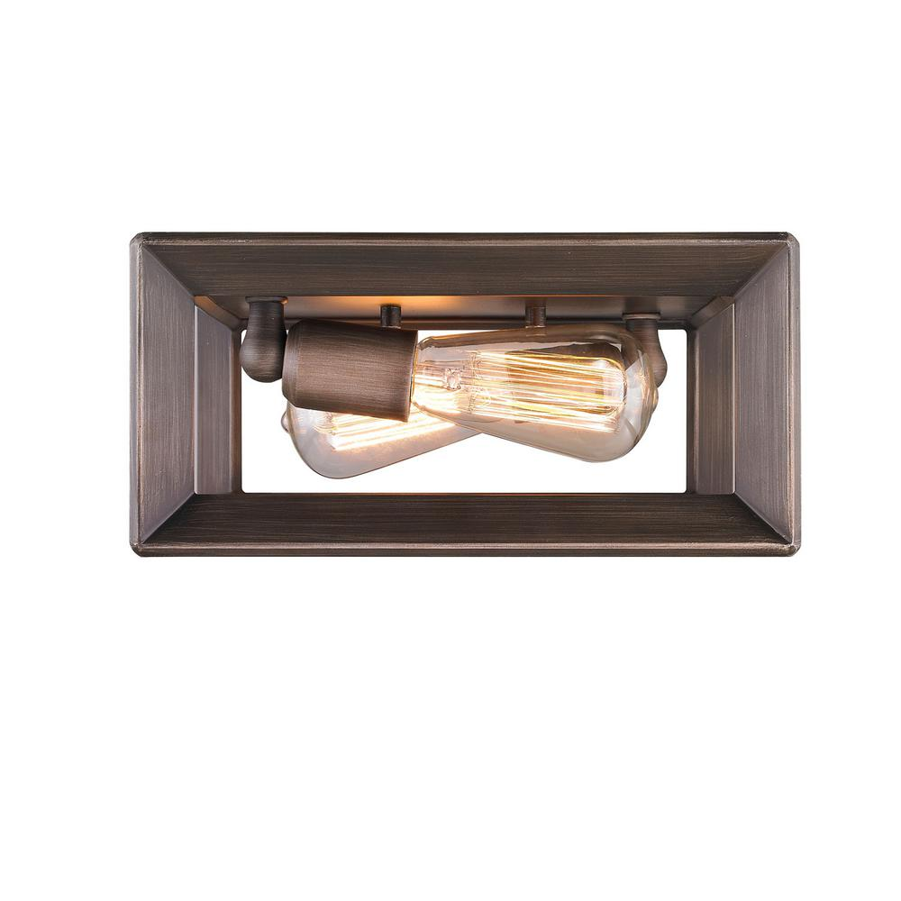 Golden Lighting Smyth 2-Light Gunmetal Bronze Flush Mount