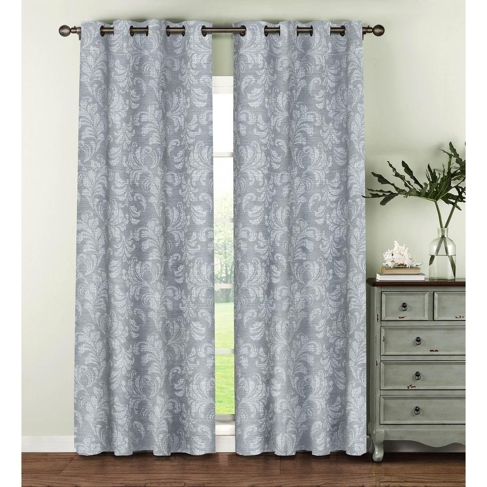 Window Elements Semi-Opaque Dover Linen Blend 96 in. L Grommet Curtain Panel Pair, Grey (Set of 2)