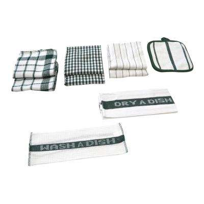 Utility Kitchen Towel Set in Green (17-Piece)