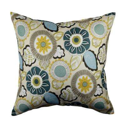 Artistic Floral Linen Throw Pillow