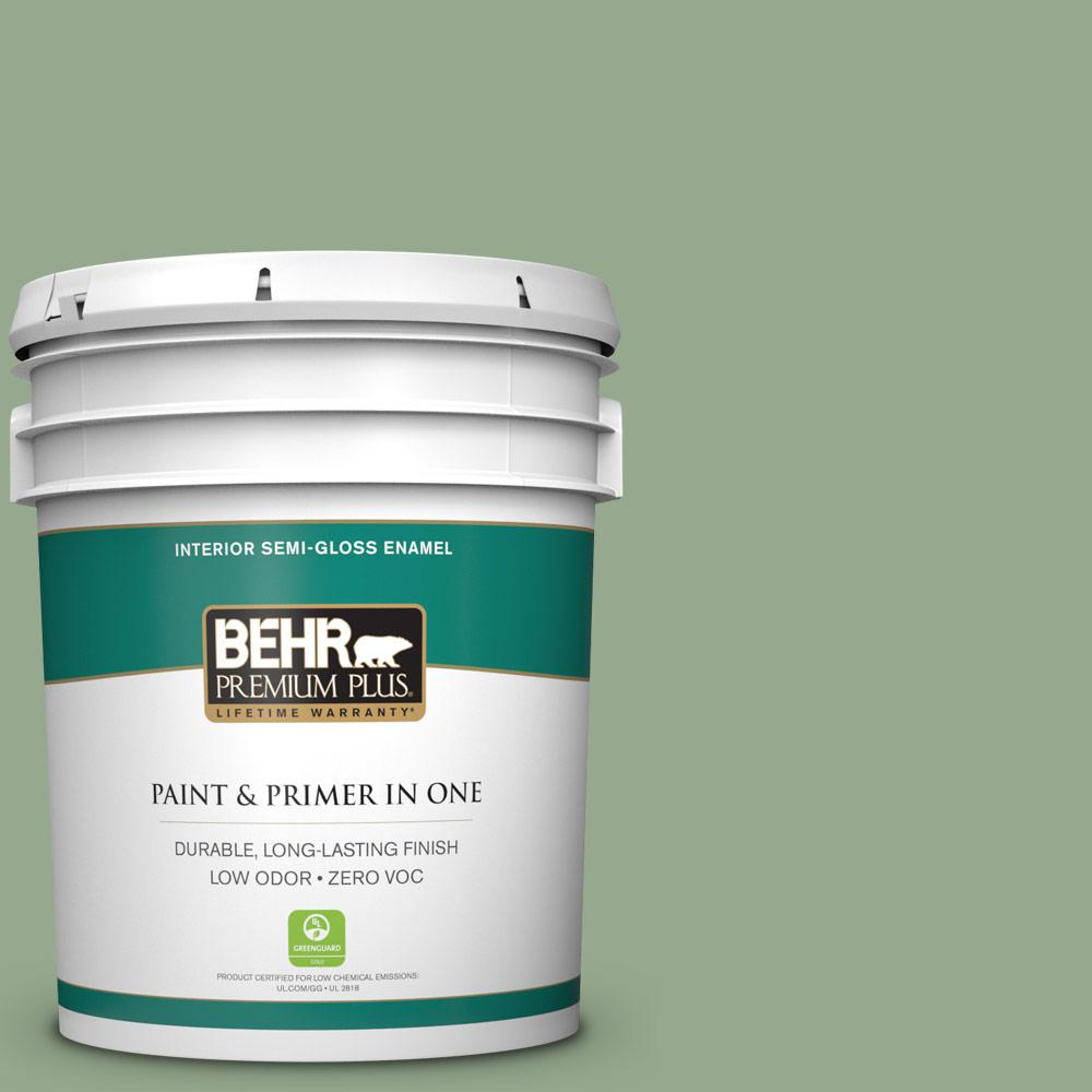 5 gal. #PPU11-05 Pesto Green Zero VOC Semi-Gloss Enamel Interior Paint