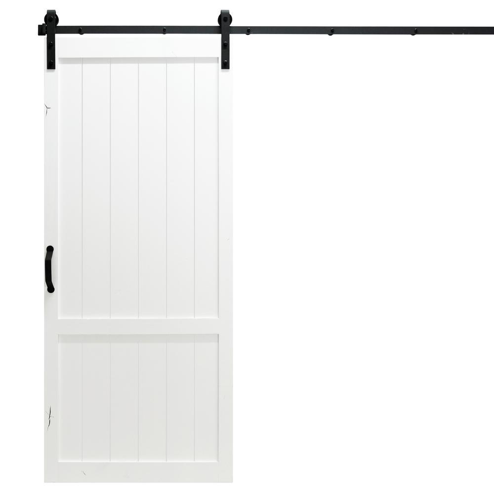 36 in. x 84 in. Country Vintage White Alder Wood Interior Barn Door Slab with Sliding Door Hardware Kit