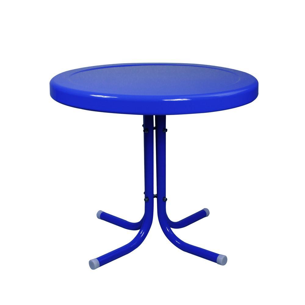 Blue Metal 21.75 in. Retro Tulip Outdoor Side Table