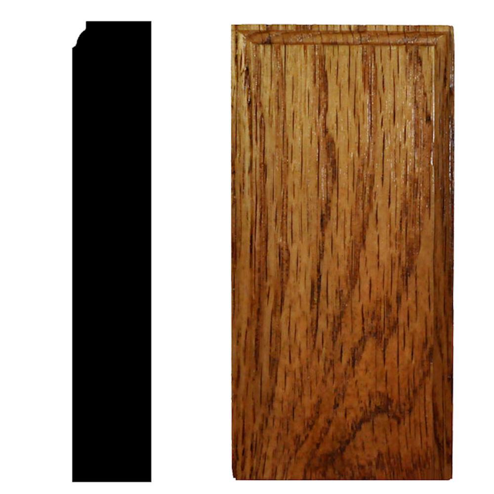 7/8 in. x 2-1/2 in. x 5 in. Oak Honey Oak Stained Plinth Block Moulding