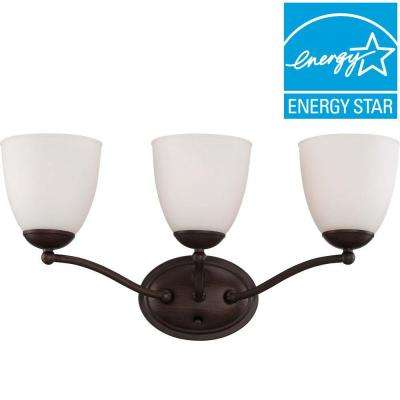 3-Light Prairie Bronze Vanity Fixture with Frosted Glass Shade