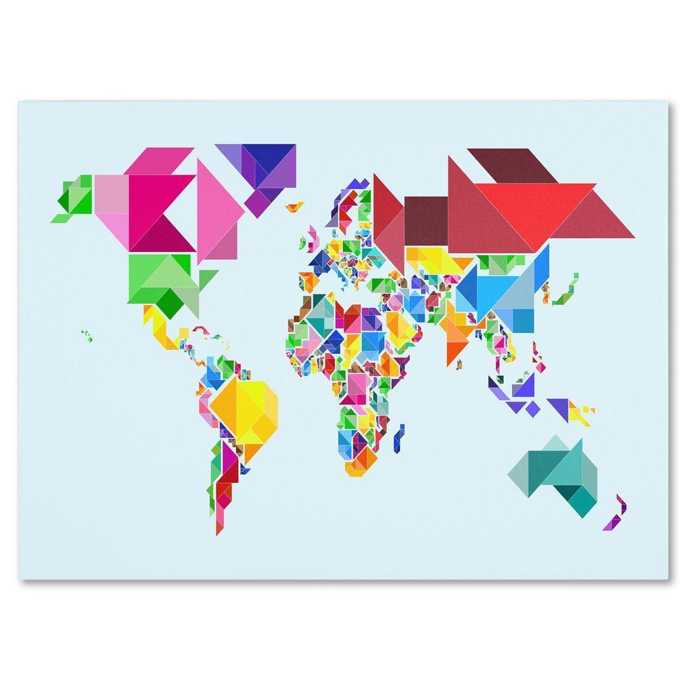 14 in. x 19 in. Tangram Worldmap Canvas Art