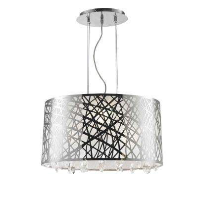 Julie 4-Light Chrome Oval Drum Chandelier with Clear Crystal Shade