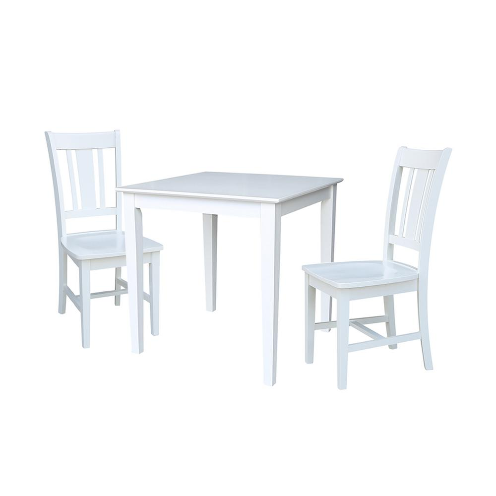 White Wood Dining Set: International Concepts Emma 3-Piece White Solid Wood