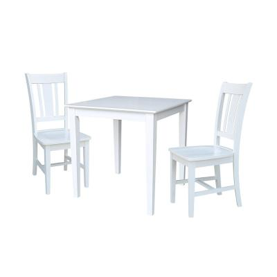 Emma 3 Piece White Solid Wood Dining Set