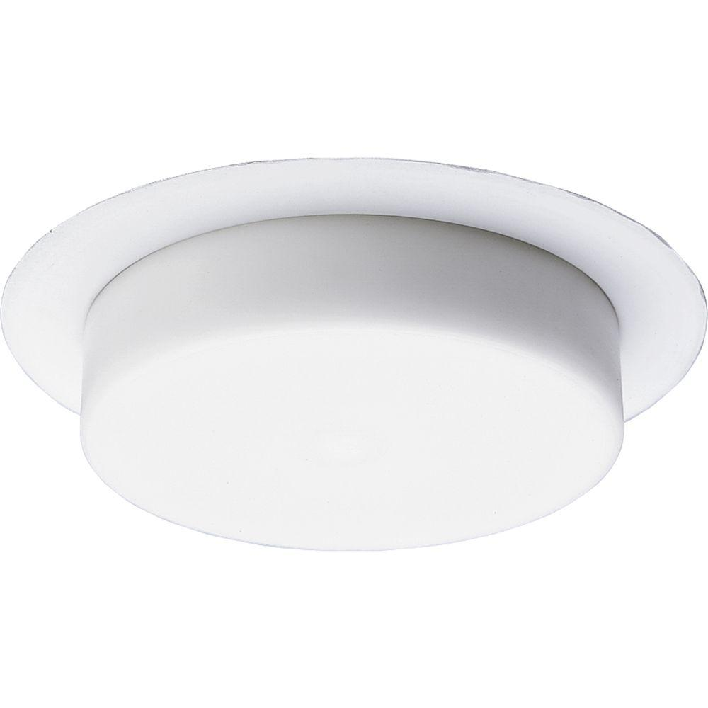 Progress Lighting 5 in. White Recessed Drop Opal Shower Trim Down lighting is popular choice for providing general and task lighting in homes and offices. By concealing the light source above the ceiling, down lighting is an unobtrusive option for illumination. This shower trim is for use with Progress Lighting 5 in. recessed housings. White, opal glass diffuser. Wet location listed.