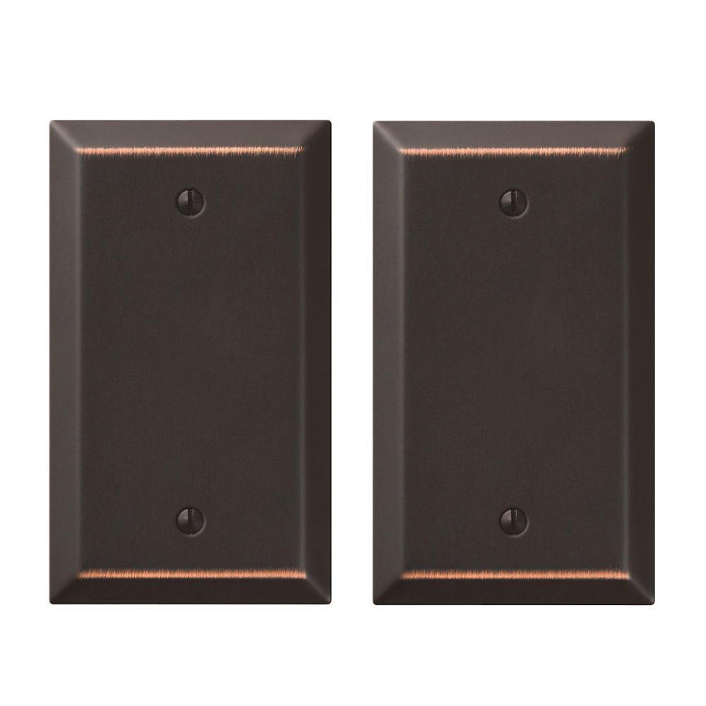 Metallic 1 Gang Blank Steel Wall Plate - Aged Bronze (2-Pack)