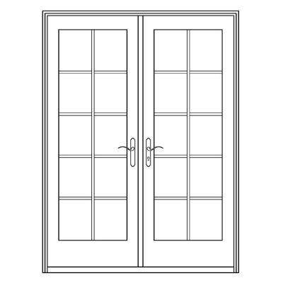 72 in. x 80 in. Professional Series White Aluminum/Wood French Patio Door