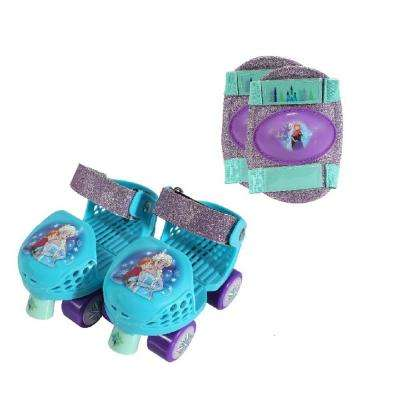 Frozen Glitter Junior Size 6-12 Roller Skates with Knee Pads