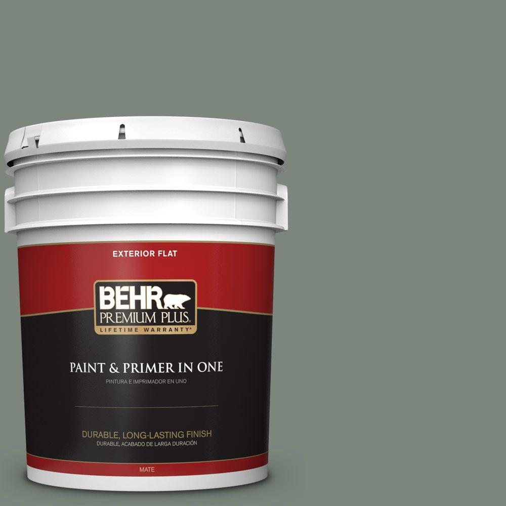 BEHR Premium Plus 5-gal. #N410-5 Village Green Flat Exterior Paint