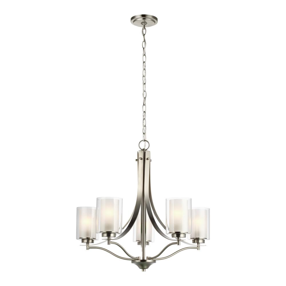 Sea Gull Lighting Elmwood 5-Light Brushed Nickel Chandelier with Satin  Etched Glass Shades