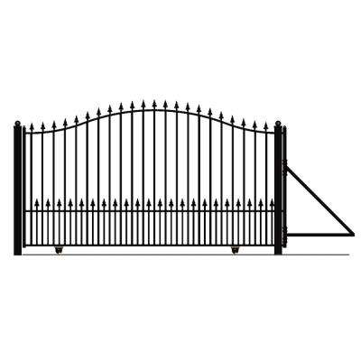 Munich Style 16 ft. x 6 ft. Black Steel Single Slide Driveway Fence Gate