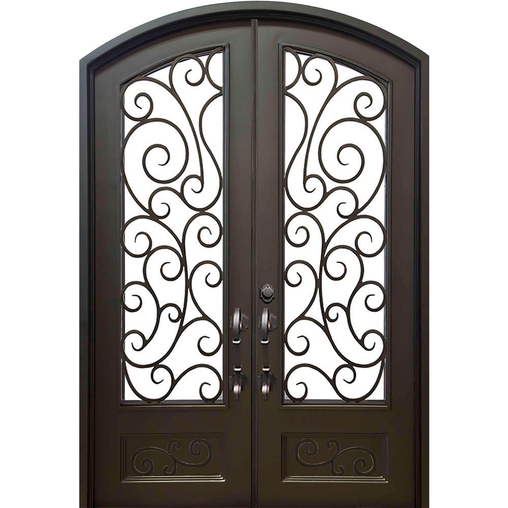 72 in.x96 in. Lauderdale Eyebrow Right-Hand Classic Painted Wrought Iron Double