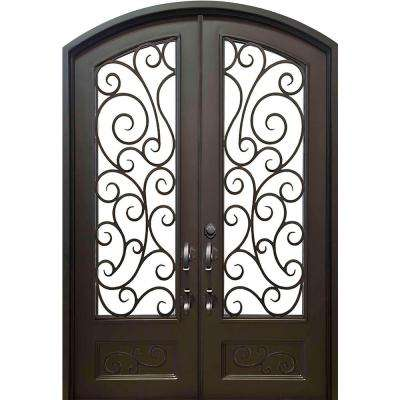 72 in.x96 in. Lauderdale Eyebrow Right-Hand Classic Painted Wrought Iron Double Prehung Front Door (Hardware Included)
