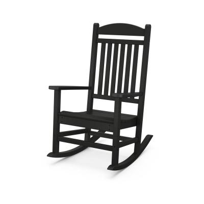 Grant Park Black Plastic Outdoor Rocking Chair