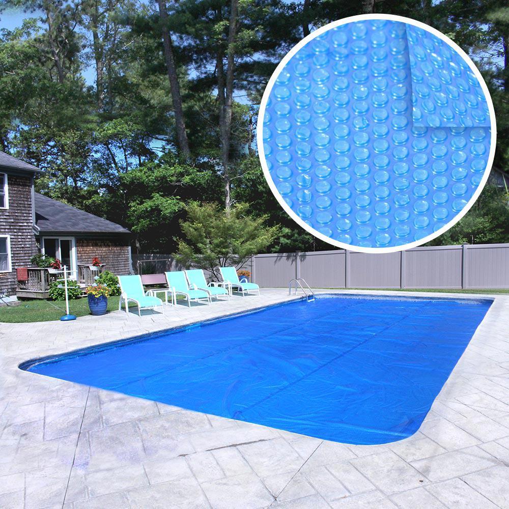 Deluxe 3-Year 16 ft. x 32 ft. Rectangular Blue Solar Cover Pool Blanket